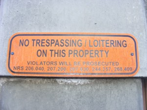 Clark County Jail in Las Vegas - No Trespassing / Loitering on This Property