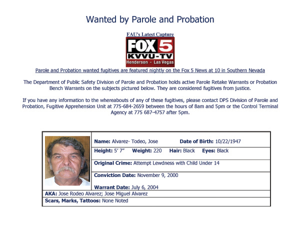 Jose Alvarez-Todeo - Wanted by the Las Vegas Public Safety