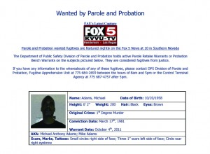 Michael Adams - Wanted by the Las Vegas Department of Public Safety Division of Parole and Probation